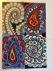 Four doodle-esqu paintings